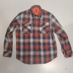 RVCA flannel lightweight jacket black and orange